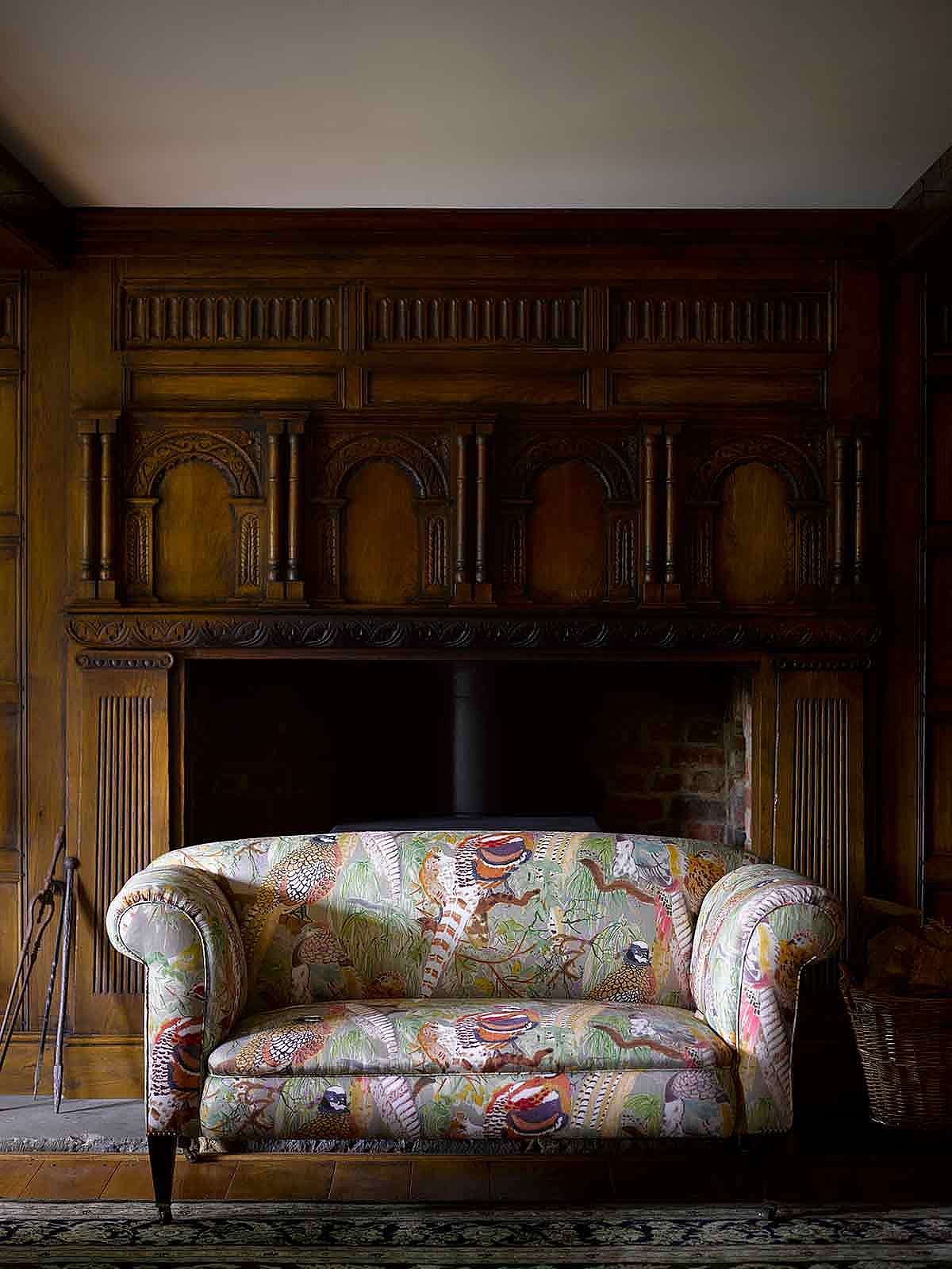 Restored and re upholstered Victorian drop-arm Chesterfield