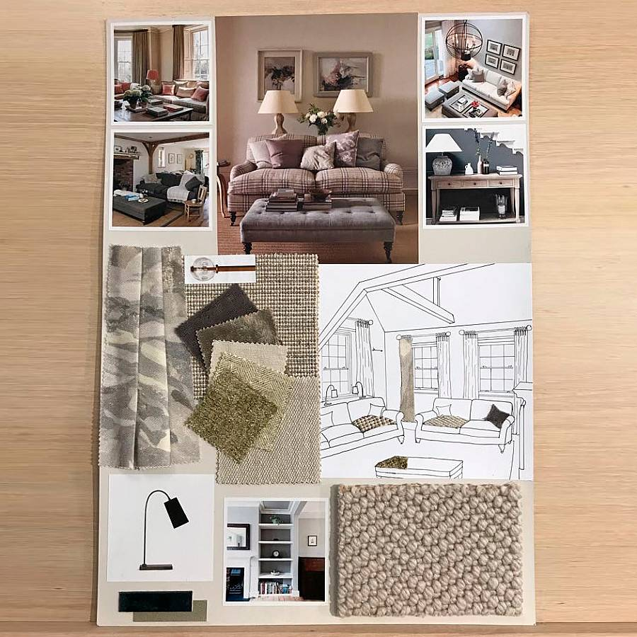 One of Clare's mood boards for an interior design project